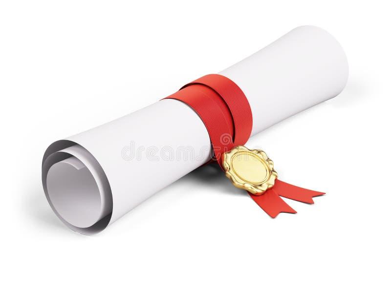 Diploma de papel do rolo com fita vermelha e selo do ouro em um fundo branco ilustração do vetor