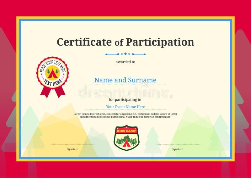Diploma dei bambini o certificato del modello di partecipazione con colore royalty illustrazione gratis