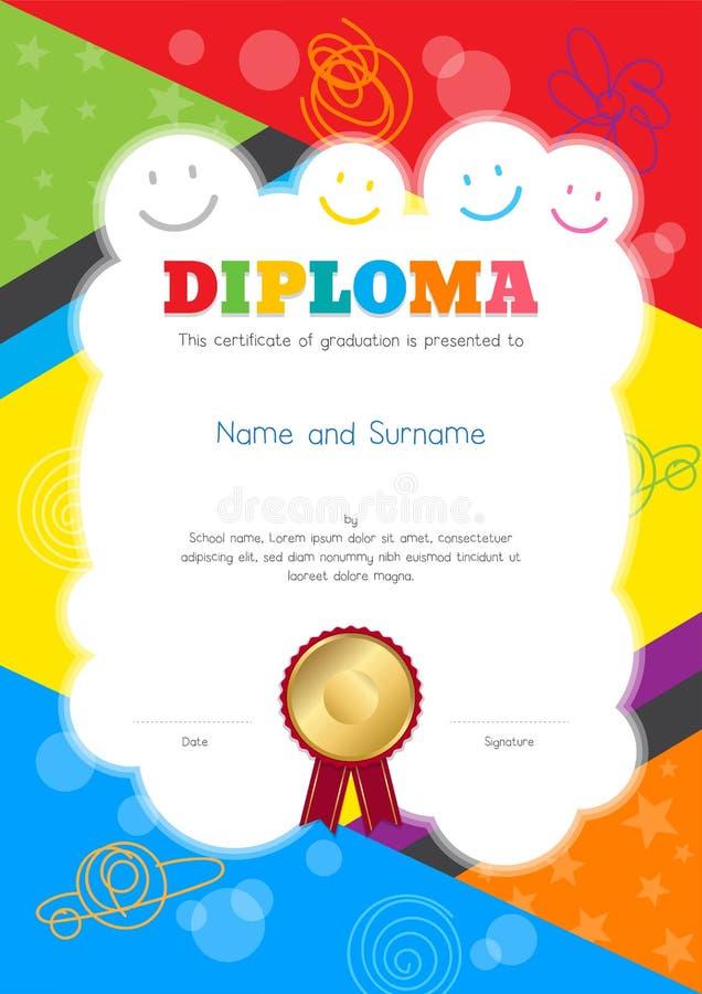 Diploma dei bambini o modello del certificato con tiraggio della mano e variopinto illustrazione di stock