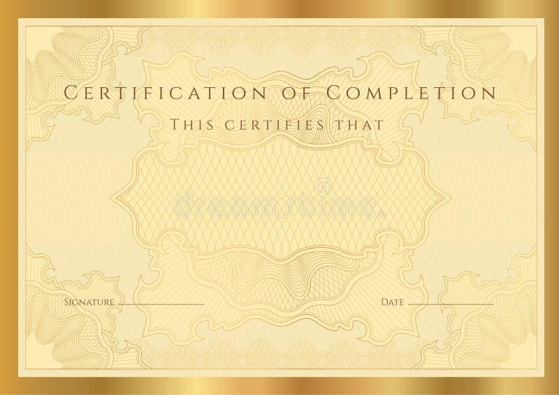 Diploma del certificado de la realización (modelo) stock de ilustración