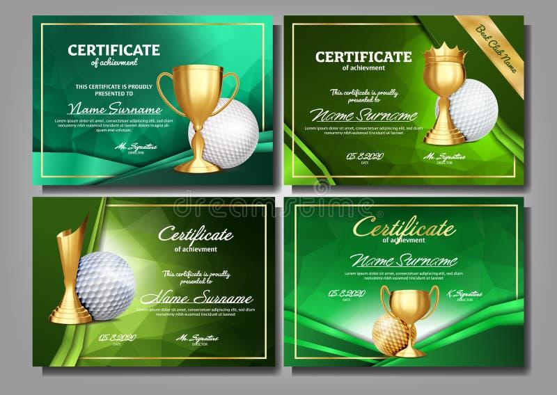 Diploma del certificado del juego de golf con vector del sistema de la taza de oro Plantilla del premio del deporte Diseño del lo ilustración del vector