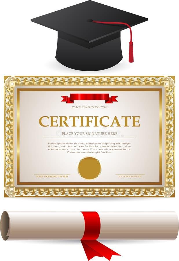 Diploma del certificato e cappuccio dorati di graduazione illustrazione vettoriale