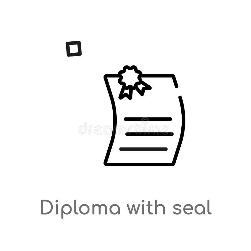 diploma del esquema con el icono del vector del sello línea simple negra aislada ejemplo del elemento del concepto de la educació ilustración del vector