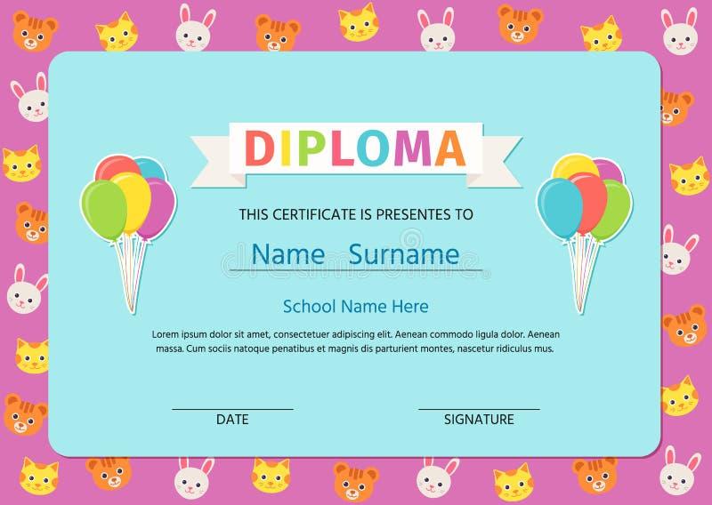 Diploma del niño, certificado Ilustración del vector Diseño preescolar lindo stock de ilustración