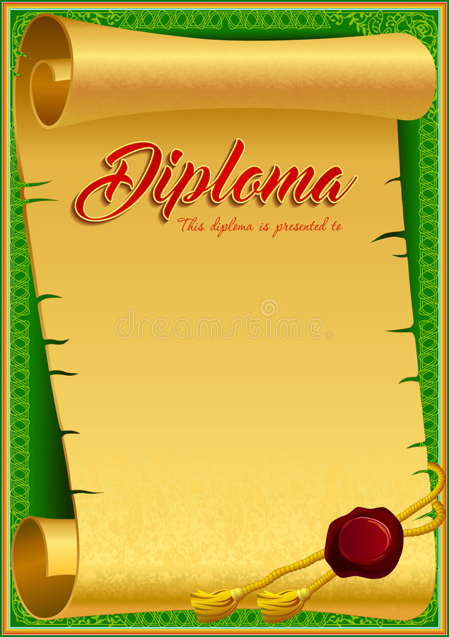 Diploma design template stock illustration