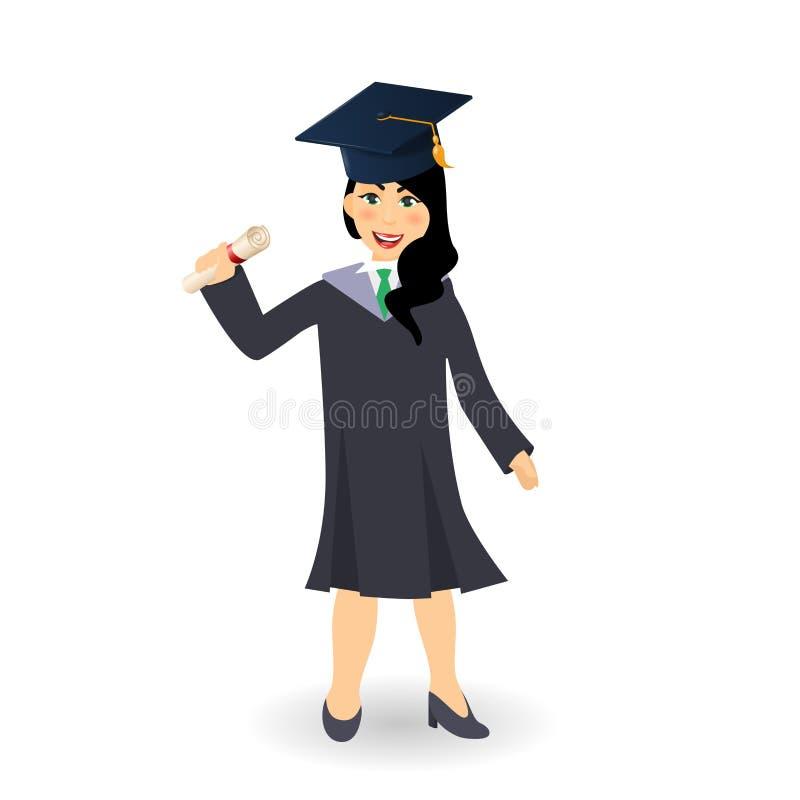 Hochwertig Download Diploma Die Gelukkig Studentenmeisje Een Diploma Behalen Vector  Illustratie   Illustratie Bestaande Uit Diploma,