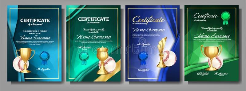 Diploma do certificado do jogo de basebol com vetor do grupo do copo dourado Molde da concessão do esporte realização Fundo da ho ilustração do vetor