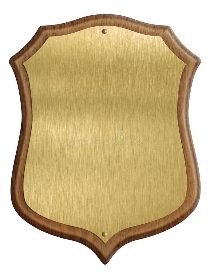 Diploma dourado do protetor no quadro de madeira isolado imagem de stock royalty free
