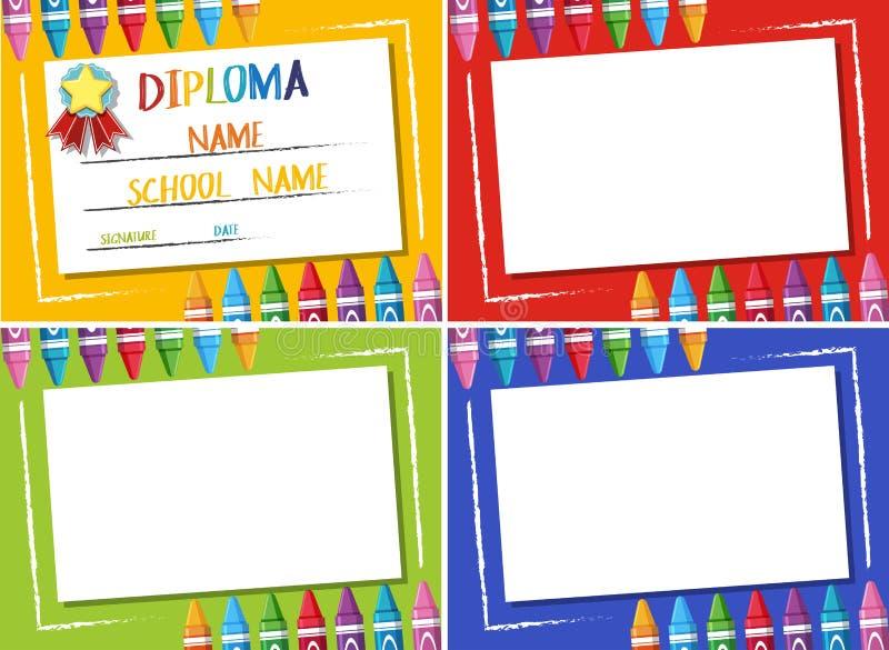 Diploma e fundo diferente da cor quatro com pastéis ilustração royalty free
