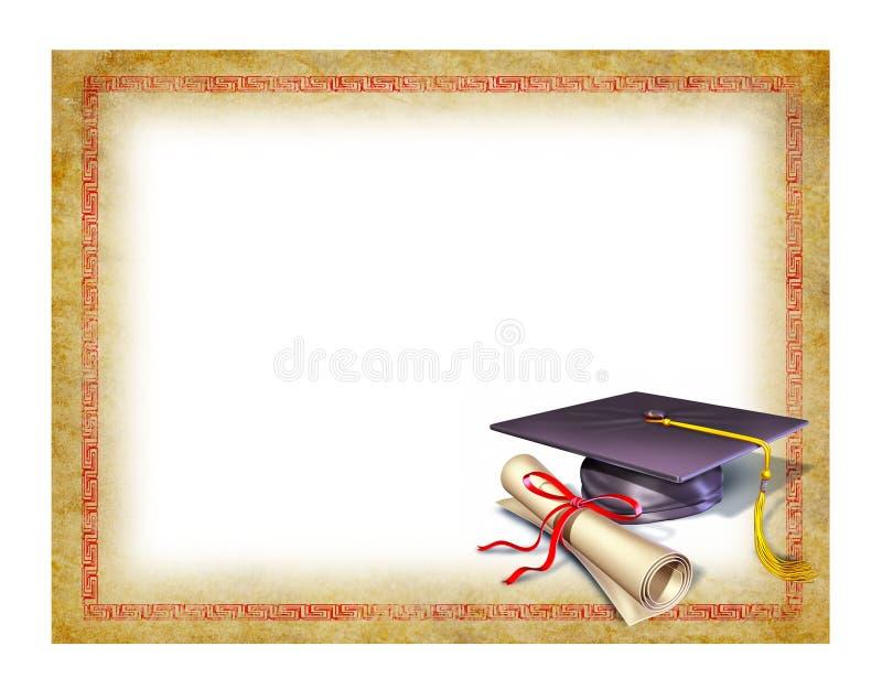 Diploma em branco da graduação ilustração do vetor