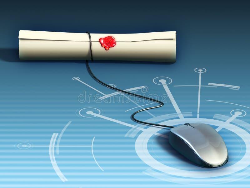 Diploma en línea stock de ilustración