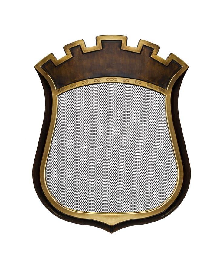 Diploma heráldico do protetor no quadro de madeira isolado no branco ilustração royalty free