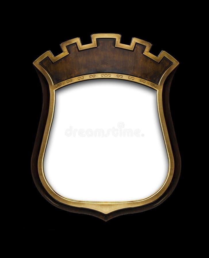 Diploma heráldico do protetor no quadro de madeira isolado no preto ilustração royalty free