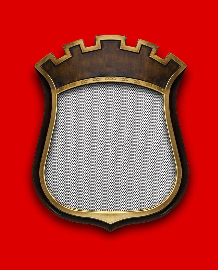 Diploma heráldico do protetor no quadro de madeira isolado no vermelho ilustração stock