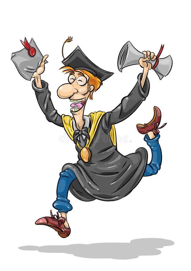Diploma jumping. Illustration of a man who jumping holding diploma artificer royalty free illustration