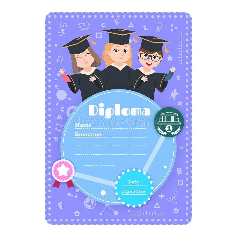 Diploma laureato dei bambini Certificato prescolare di graduazione dei bambini di asilo Il diploma dei bambini del fumetto di ist illustrazione vettoriale