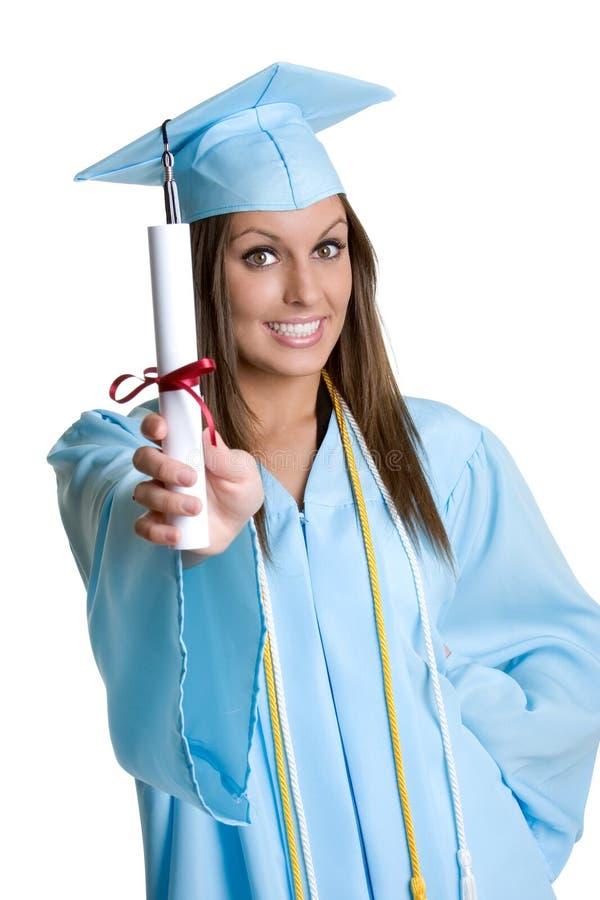 Diploma laureato della holding fotografia stock
