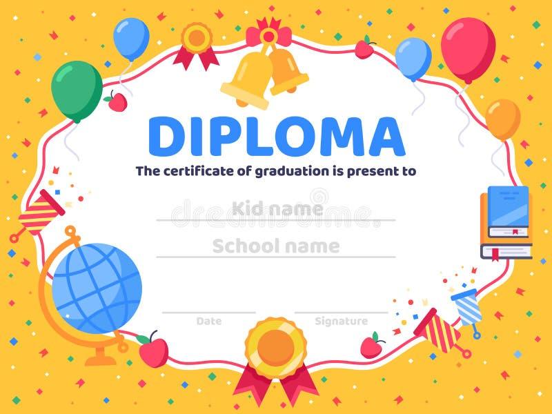 Diploma laureato Graduazione della scuola, congratulazioni dei laureati e bambino prescolare o vettore del certificato di asilo royalty illustrazione gratis