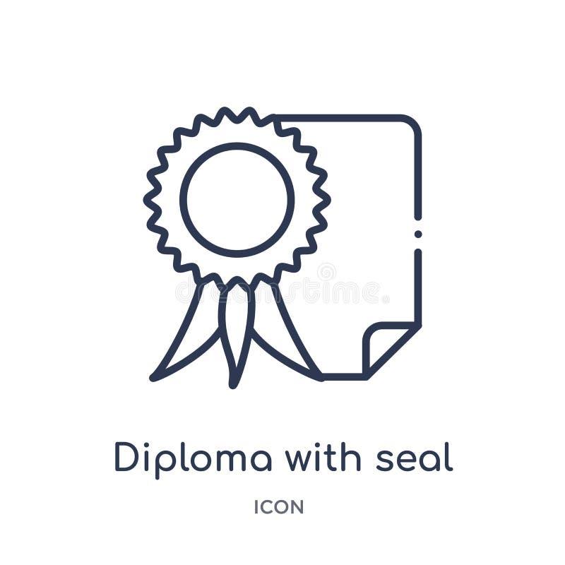 Diploma linear com ícone do selo da coleção do esboço da educação Linha fina diploma com o ícone do selo isolado no fundo branco ilustração royalty free