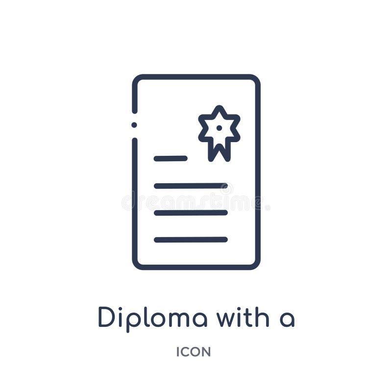 Diploma linear com um ícone da fita da coleção do esboço da educação Linha fina diploma com um vetor da fita isolado no branco ilustração royalty free