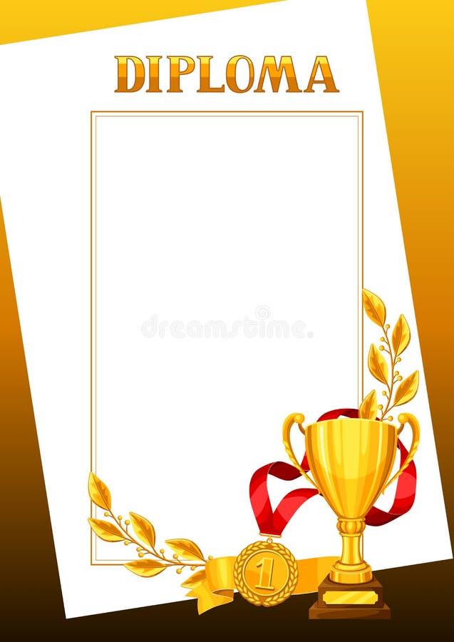 Diploma met realistische gouden toekenning Certificaat voor sporten of collectieve competities royalty-vrije illustratie