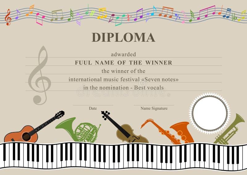 Diploma musical horizontal stock de ilustración