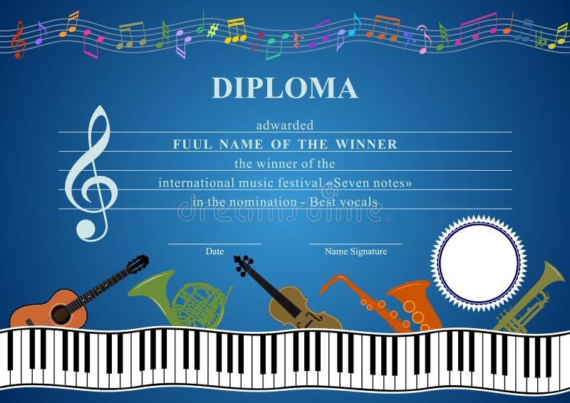 Diploma musical horizontal ilustración del vector
