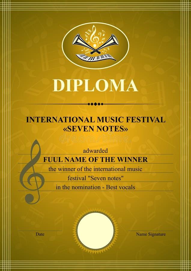 Diploma musical vertical libre illustration