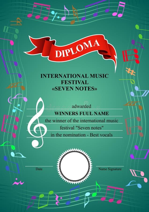 Diploma musical vertical ilustración del vector