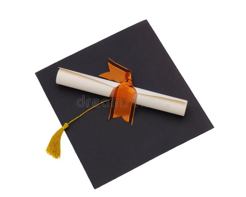 Diploma na placa do almofariz fotografia de stock royalty free