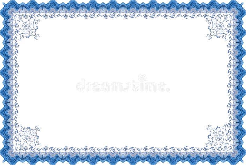 Diploma o certificado de la frontera. ilustración del vector