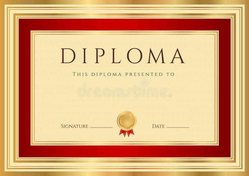 Plantilla del diploma/del certificado con la frontera roja stock de ilustración