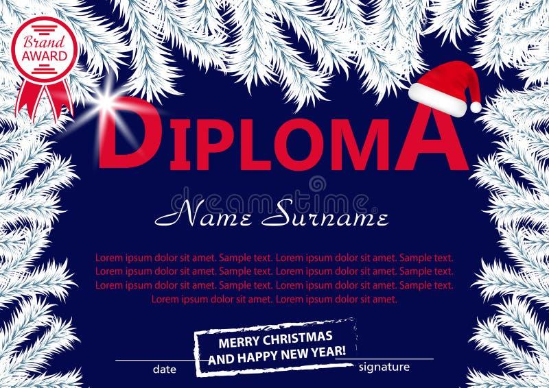 Diploma o certificato del modello di Natale Ricompensa del nuovo anno con con i rami dell'albero ed il cappello bianchi di Santa  illustrazione vettoriale