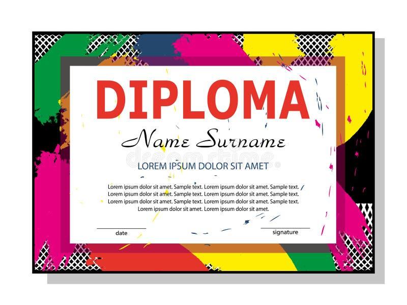 Diploma o certificato del modello Disegno variopinto moderno Vettore illustrazione vettoriale