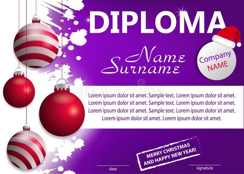 Diploma o certificato porpora di Natale del modello Ricompensa del nuovo anno con le palle rosse d'attaccatura decorative Vettore illustrazione vettoriale
