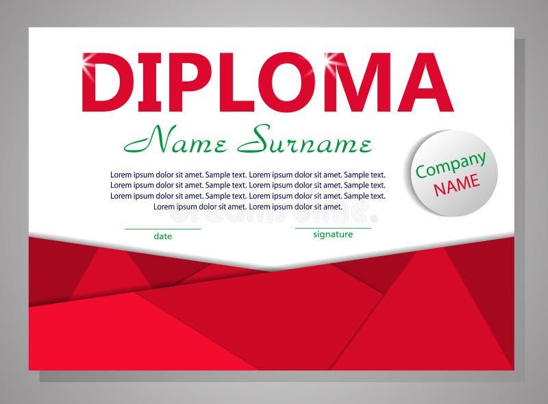 Diploma o certificato rosso del modello Priorità bassa elegante Vettore illustrazione di stock