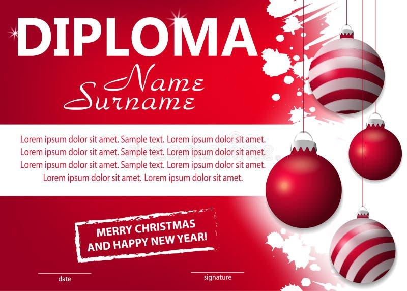 Diploma o certificato rosso di Natale del modello Ricompensa del nuovo anno con le palle rosse d'attaccatura decorative Vettore illustrazione di stock