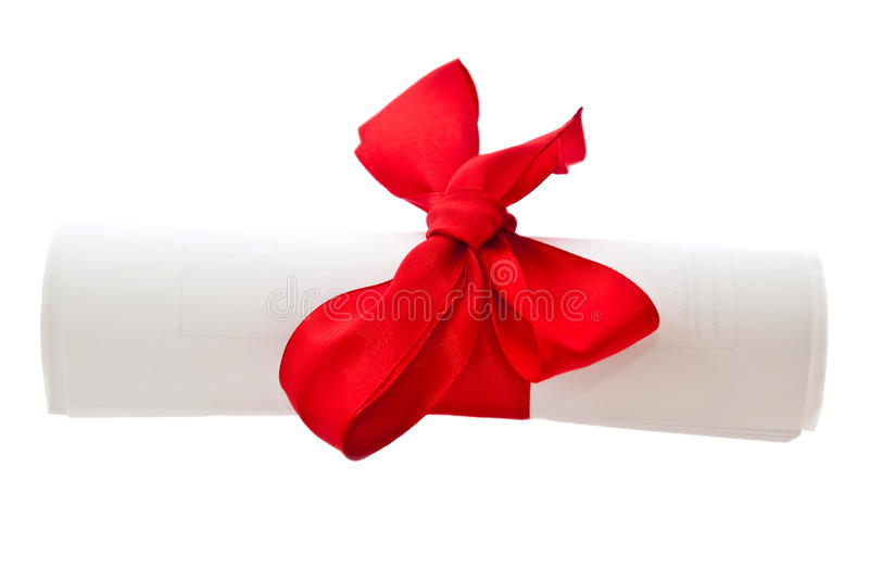 Diploma With Red Ribbon Stock Photography