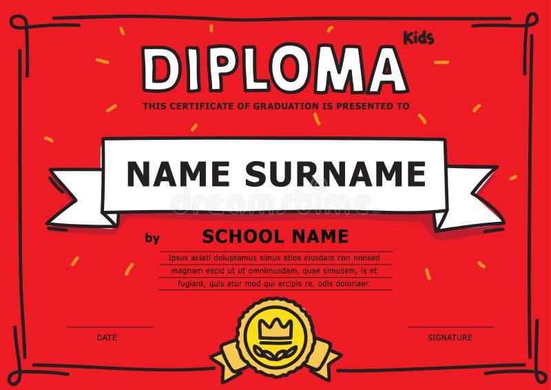 Diploma semplice dei bambini immagini stock libere da diritti