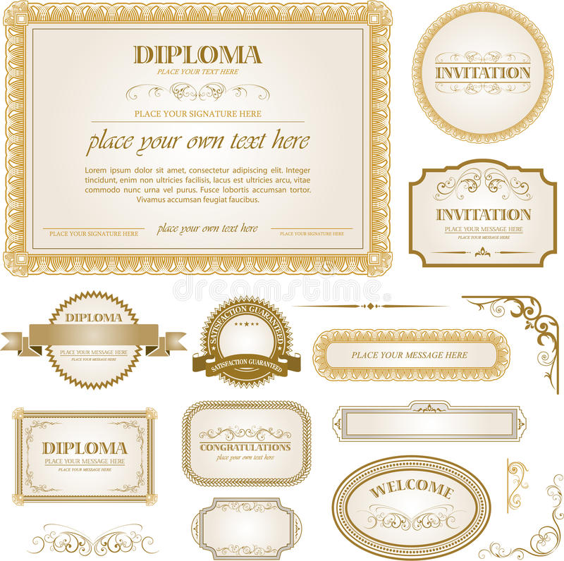Diploma template with additional design elements vector illustration