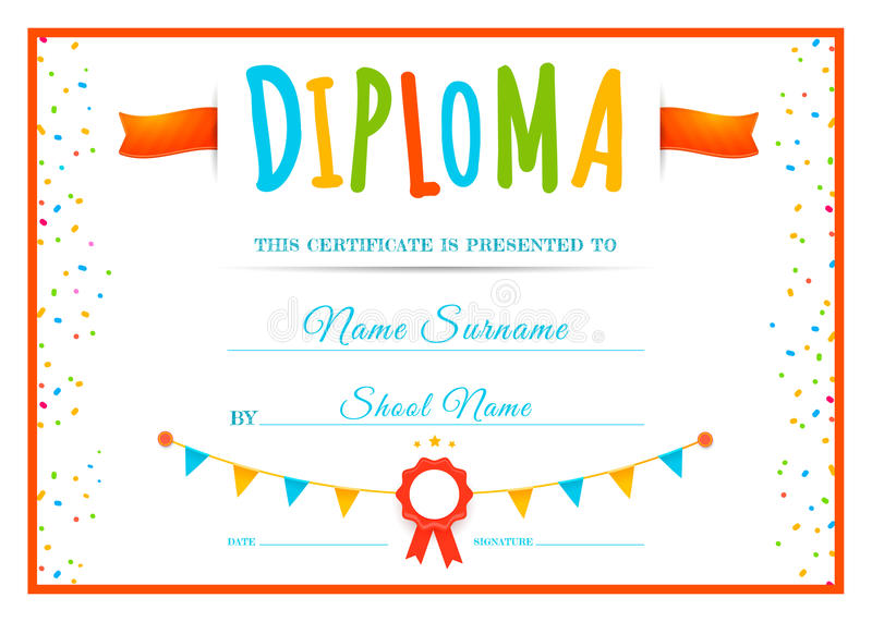 Diploma Template For Kids Stock Vector Illustration Of Achievement