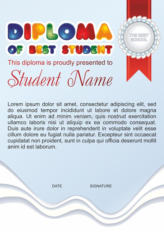 Diploma template for kids, diploma of the best student. royalty free illustration