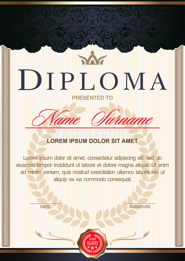 The diploma is vertical in the style of vintage, rococo, baroque.black with red and gold colors. Diploma vertical in the Royal style Vintage, Rococo, Baroque royalty free illustration
