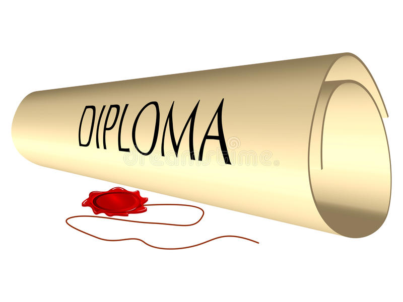 Download Diploma and wax seal stock vector. Image of paper, doctorate - 23582979