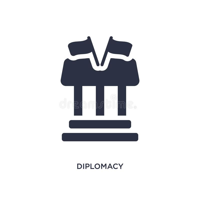 diplomacy icon on white background. Simple element illustration from law and justice concept vector illustration