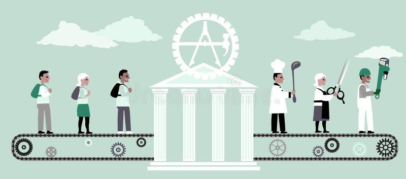 Diplomados de escuela comercial ilustración del vector