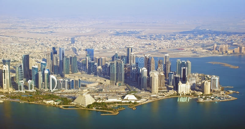 The Diplomatic area - Qatar. The diplomatic area in Qatar and Doha west bay. Aerial Photo taken in 2013 stock images