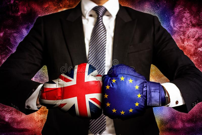 Diplomatic and business trade Concept  between European Union and United Kingdom. Diplomatic and business trade Concept  between European Union EU and United royalty free stock images
