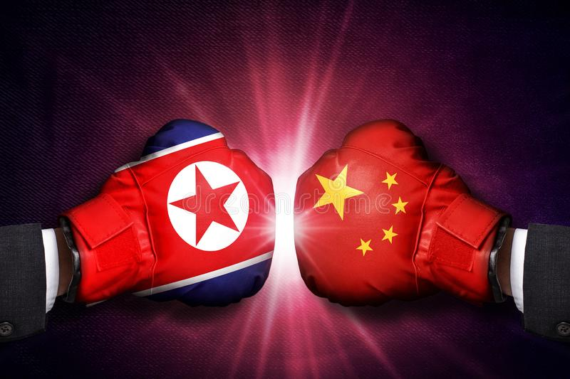 Diplomatic  Concept  between North Korea and China. ASIA royalty free stock photography