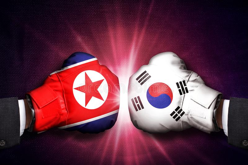 Diplomatic and Military conflict Concept  between North Korea and South Korea. ASIA stock image